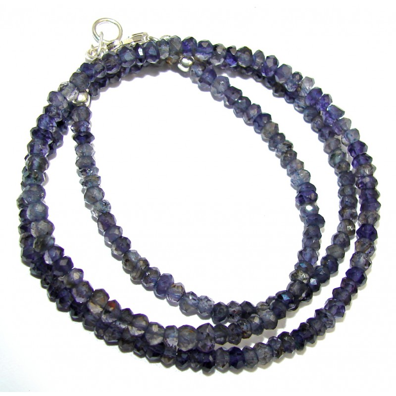 Amazing Genuine Iolite Sterling Silver Necklace