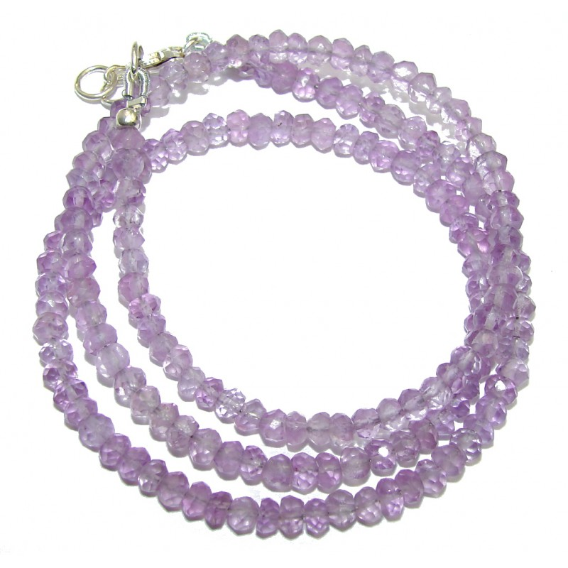 Amazing Genuine Pink Amethyst Sterling Silver Necklace