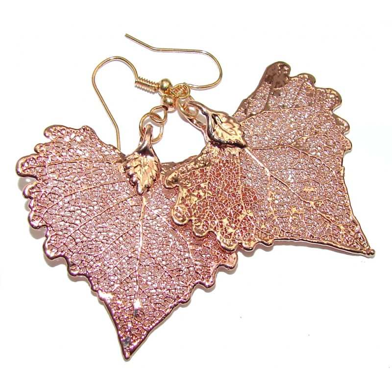 Fashion Deep In Copper Leaves Sterling Silver earrings