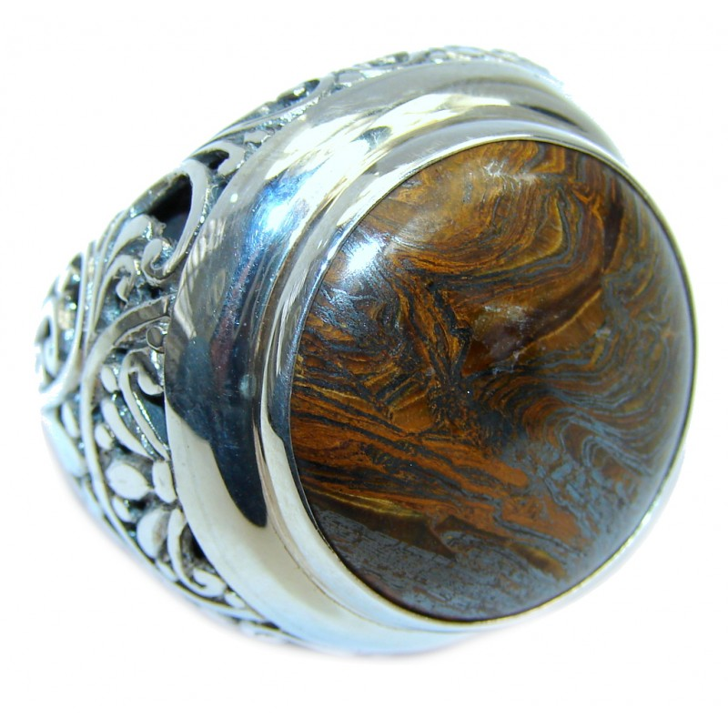 Totally Oversized AAA Iron Tigers Eye Sterling Silver ring s. 9
