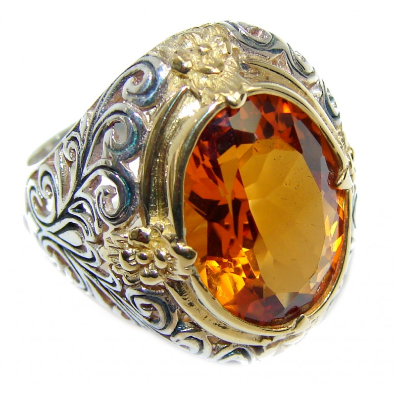 Pure Energy Golden Topaz Two Tones Sterling Silver Ring s. 7