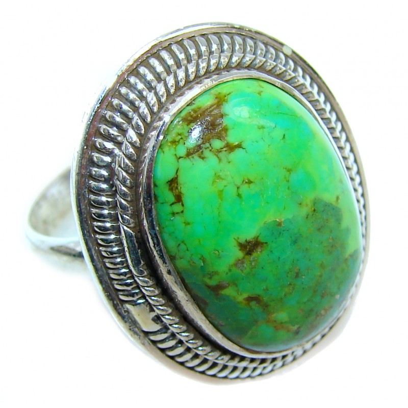 Simple Green Turquoise Sterling Silver Ring s. 10