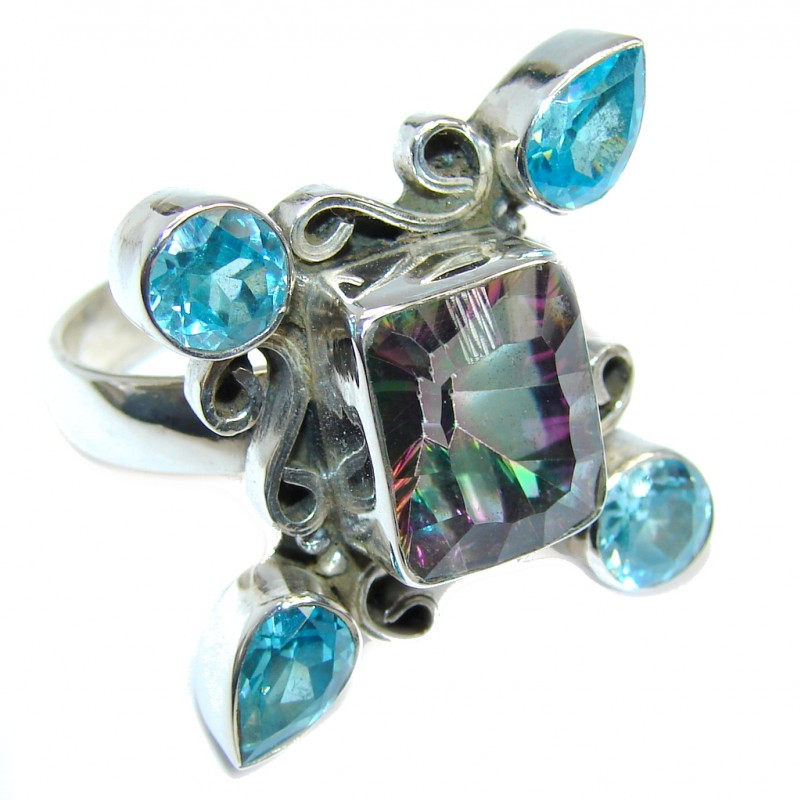 Exotic Rainbow Magic Topaz Sterling Silver Ring s. 9