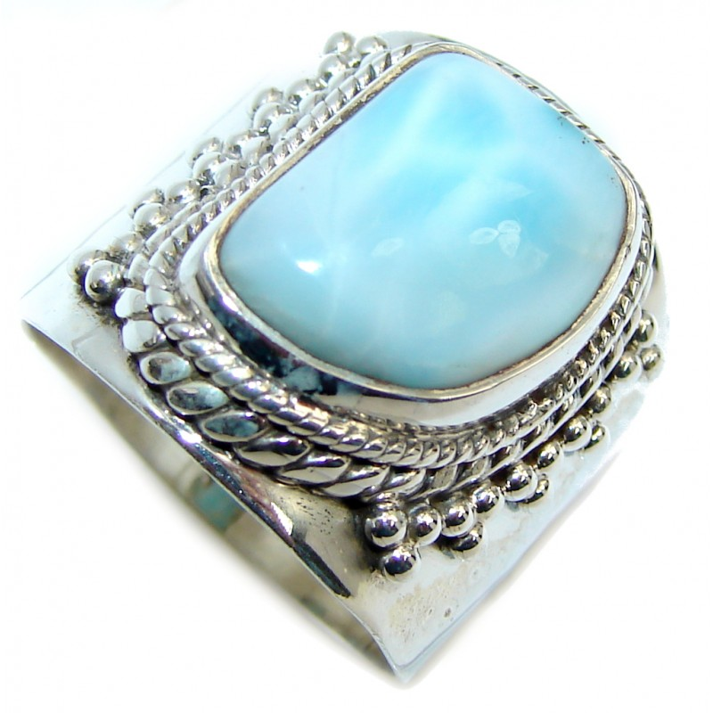 Huge AAA quality Blue Larimar Oxidized Sterling Silver Ring size 8