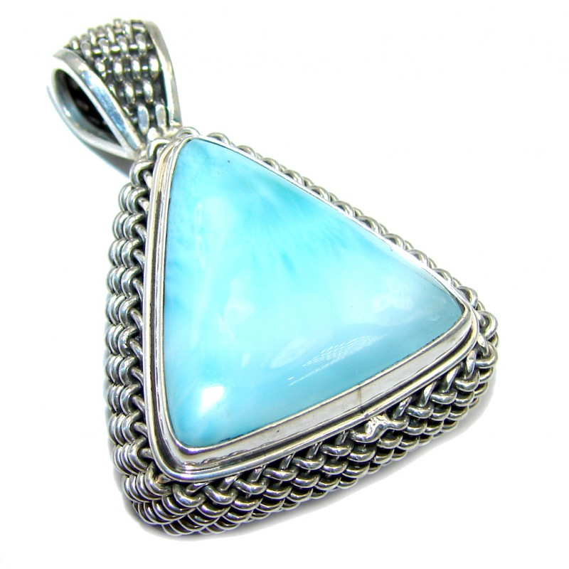 Genuine Bali made AAA Blue Larimar Sterling Silver Pendant