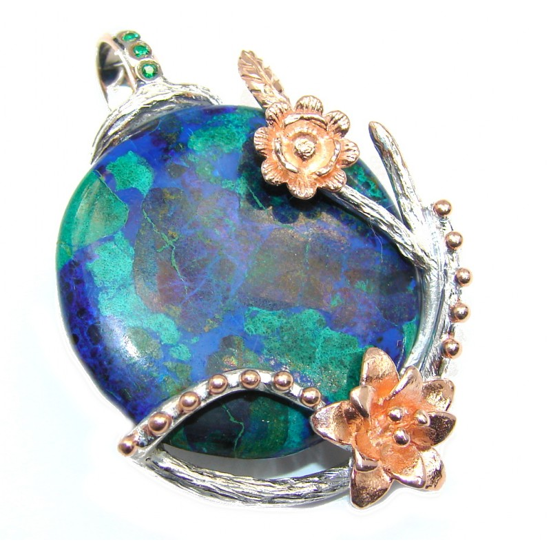 Planet Earth Blue Azurite & Emerald Gold plated Sterling Silver Pendant