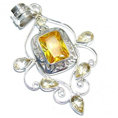 Bright Sun Yellow Cubic Zirconia Sterling Silver Pendant