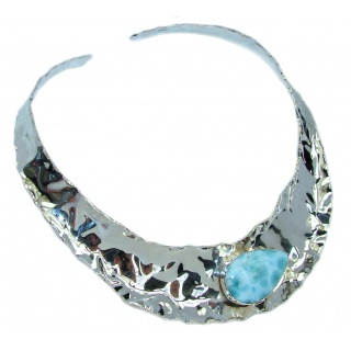Gallery Piece Natural Larimar Hammered Sterling Silver necklace Chocker
