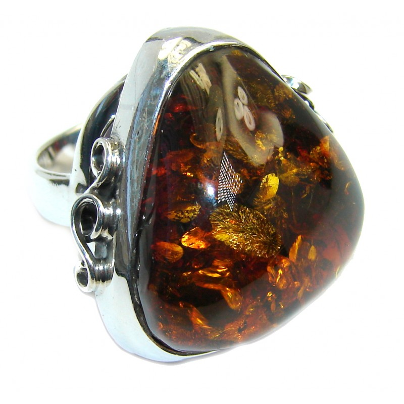 Chunky Genuine Polish Amber Sterling Silver Ring s. 7 1/2