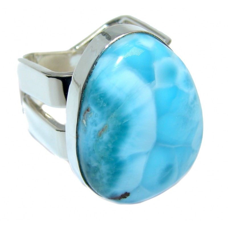 Amazing AAA quality Blue Larimar Oxidized Sterling Silver Ring size 7