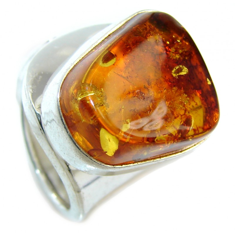 Chunky Genuine Polish Amber Sterling Silver Ring s. 6 adjustable