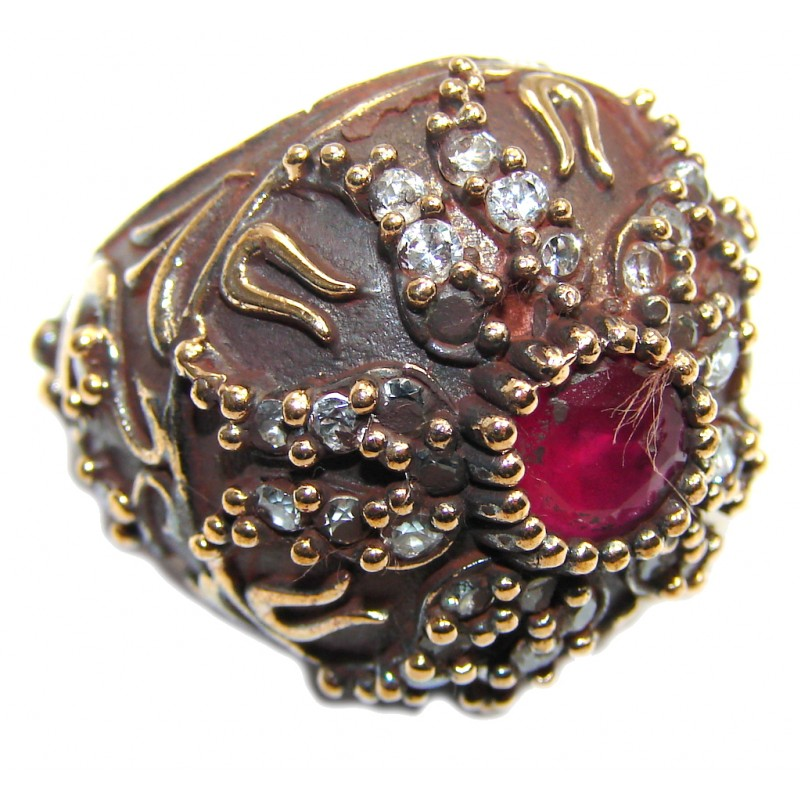 Victorian Style created Ruby & White Topaz Sterling Silver ring; s. 6