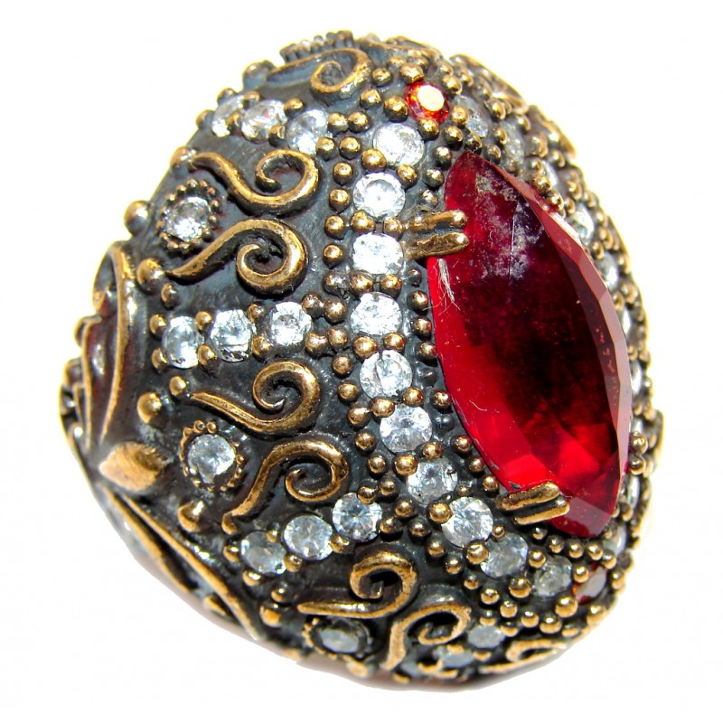Giant Victorian Style created Ruby & White Topaz Sterling Silver ring; s. 10