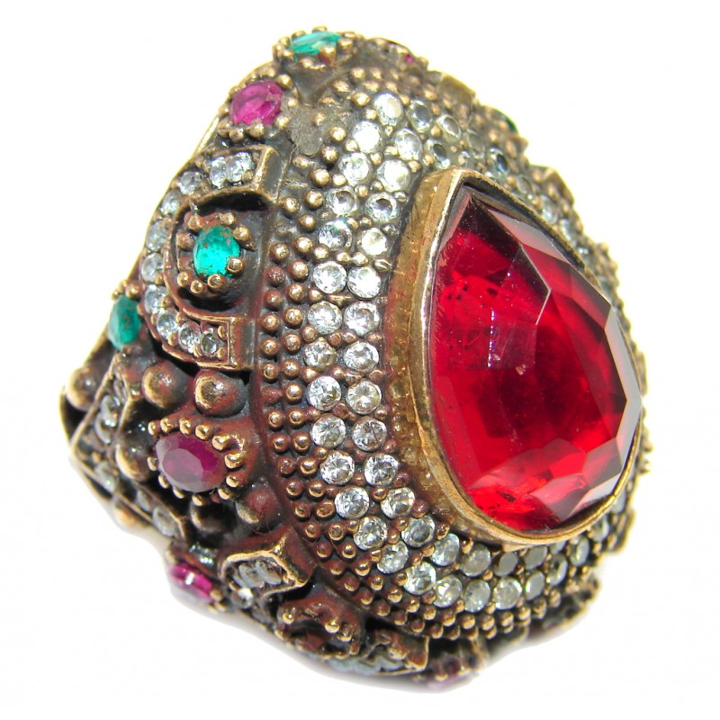 Giant Victorian Style created Ruby & White Topaz Sterling Silver ring; s. 8 1/4