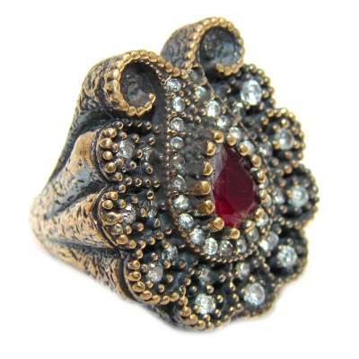 Victorian Style Ruby & White Topaz Sterling Silver Ring s. 6 1/2