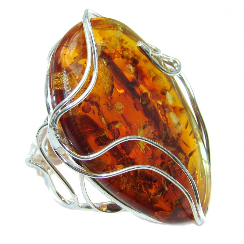 Chunky Genuine Polish Amber Sterling Silver Ring size adjustable