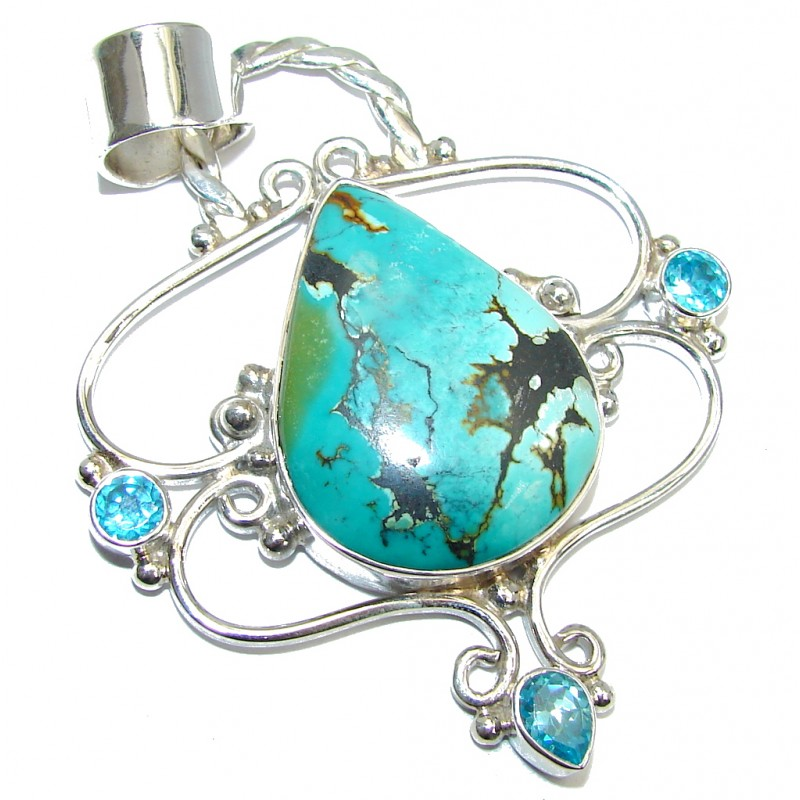 Natural Beauty Blue Turquoise Topaz Sterling Silver Pendant