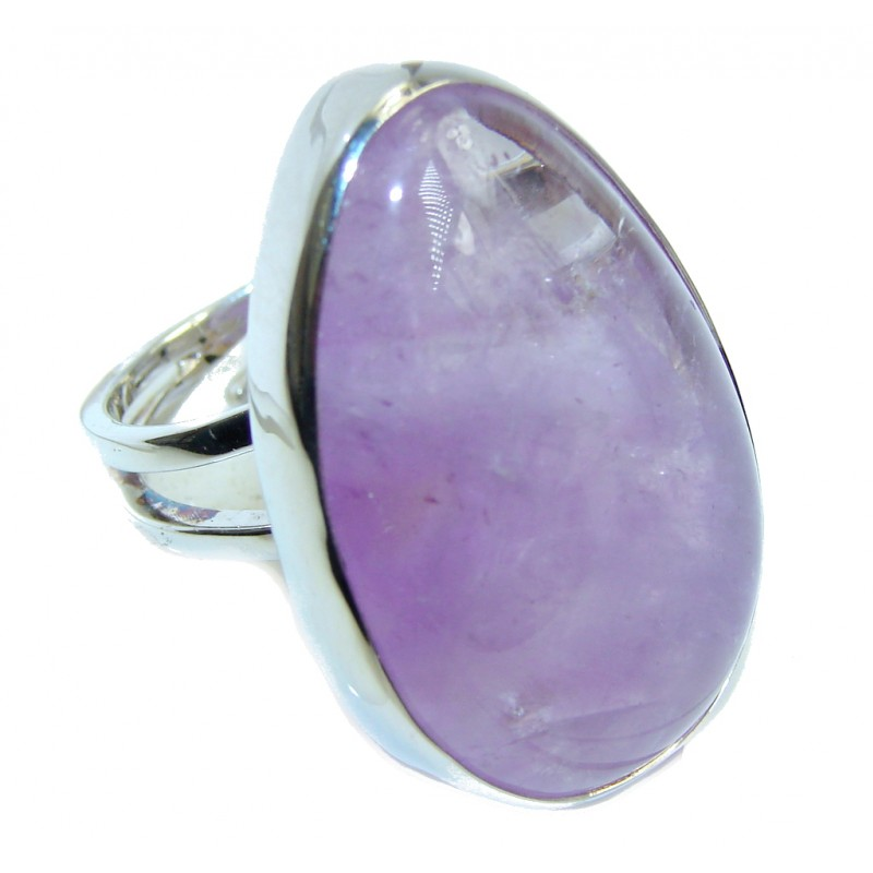 Perfect Genuine Amethyst Sterling Silver Ring size adjustable