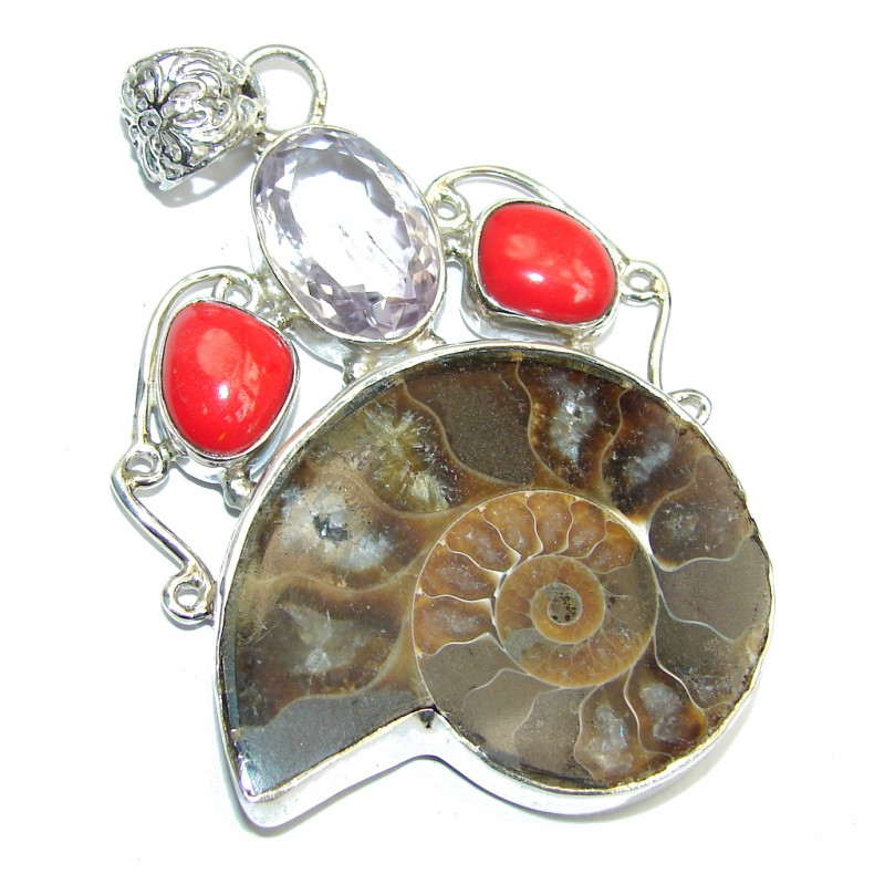 Big Stylish Brown Ammonite Fossil Sterling Silver Pendant