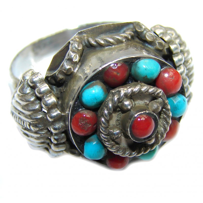 Amazing Turquoise Fossilized Coral Sterling Silver ring s. 7 1/2