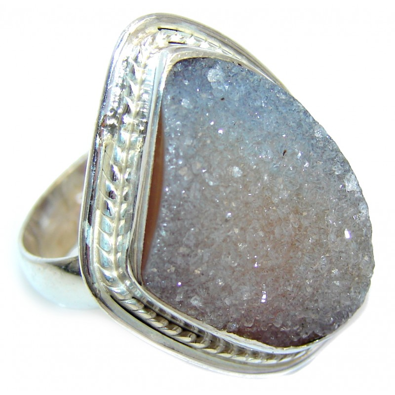 Classic Gray Agate Druzy Sterling Silver Ring s. 8 1/4
