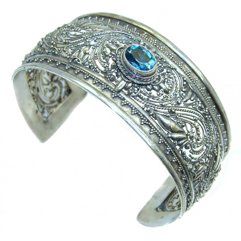 Real Treasure Bali Made AAA London Blue Topaz Sterling Silver Bracelet / Cuff