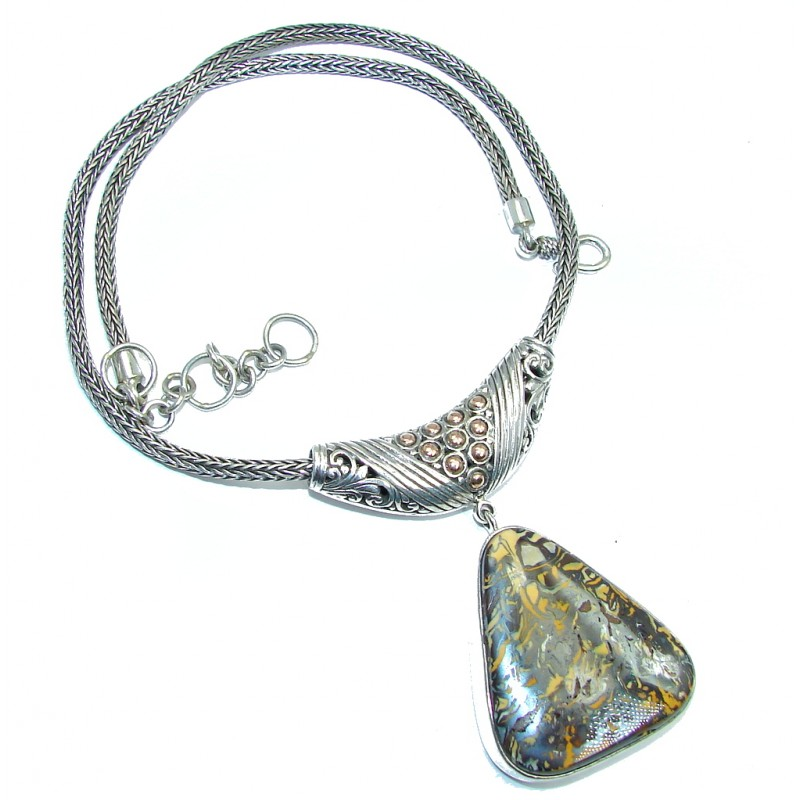 Bohemian Style Unisex Koroit Opal Two Tones Sterling Silver necklace