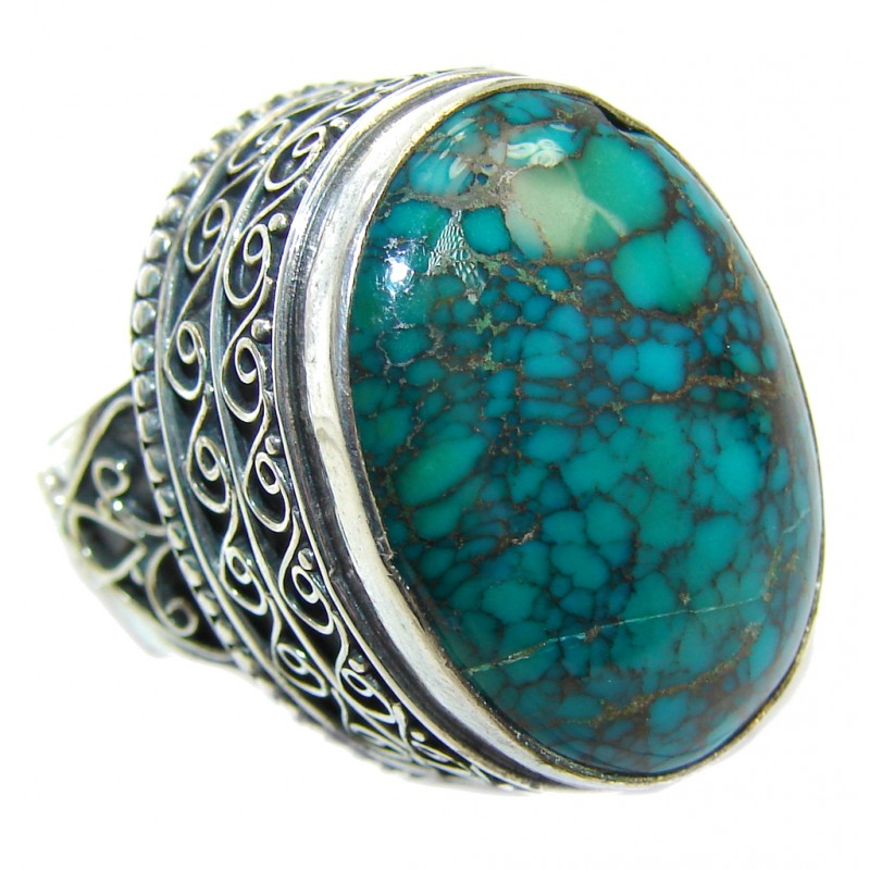 Huge Vintage Design Spider's Web Turquoise Sterling Silver Ring s. 6