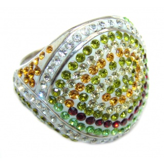 Tropical Glow Crystal White Topaz Sterling Silver ring s. 7