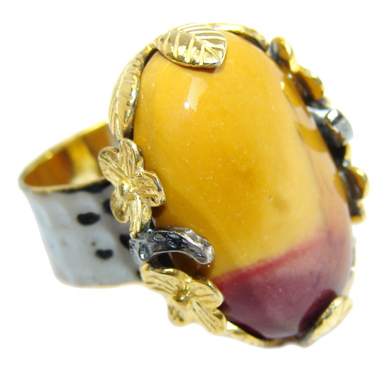 Gorgeous AAA Mookaite Jasper Gold Rhodium Plated over Sterling Silver Ring s. 7 1/4
