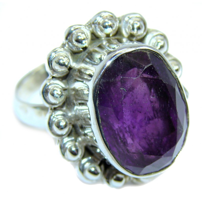Delicate Purple Amethyst Sterling Silver Ring s. 8 1/4