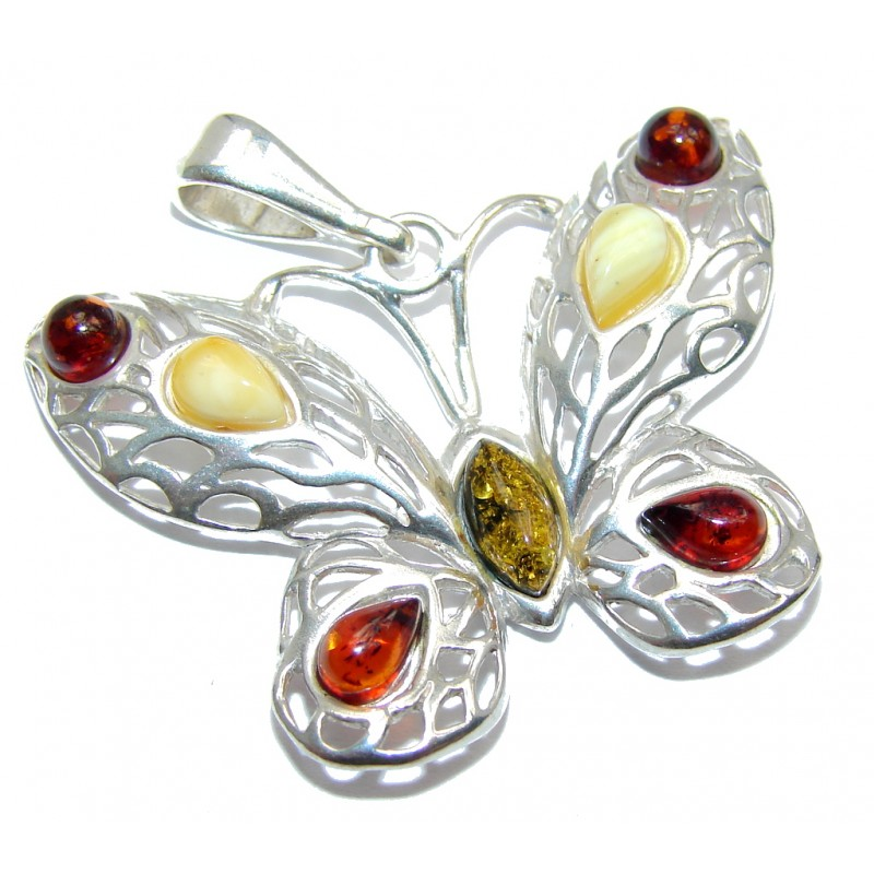 Just Perfect Butterfly Polish Amber Sterling Silver Pendant