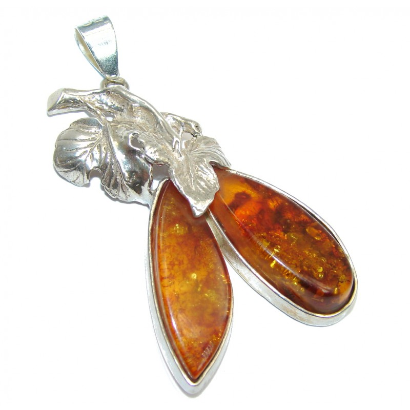 Perfect Couple Baltic Amber Sterling Silver Pendant