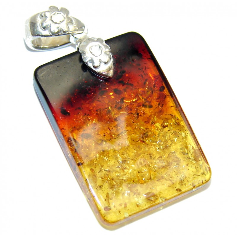 Perfect Avalange Baltic Amber Sterling Silver Pendant