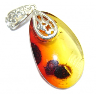 Twilight Zone Cognac Polish Amber Sterling Silver Pendant