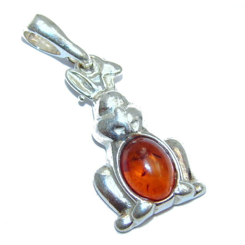 Rabbit Polish Amber Sterling Silver Pendant