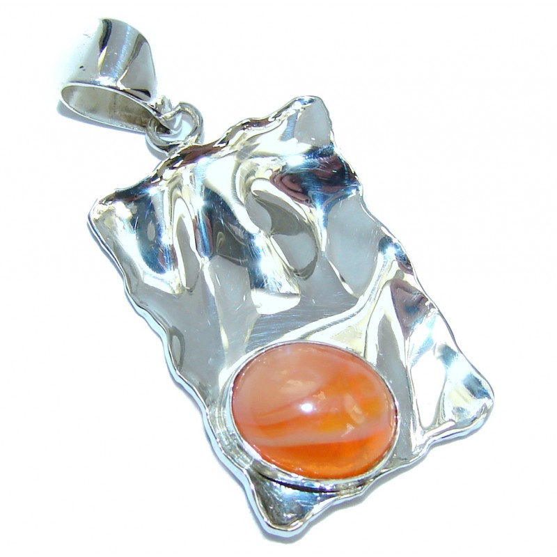 Secret Beauty Modern Mexican Fire Opal hammered Sterling Silver Pendant