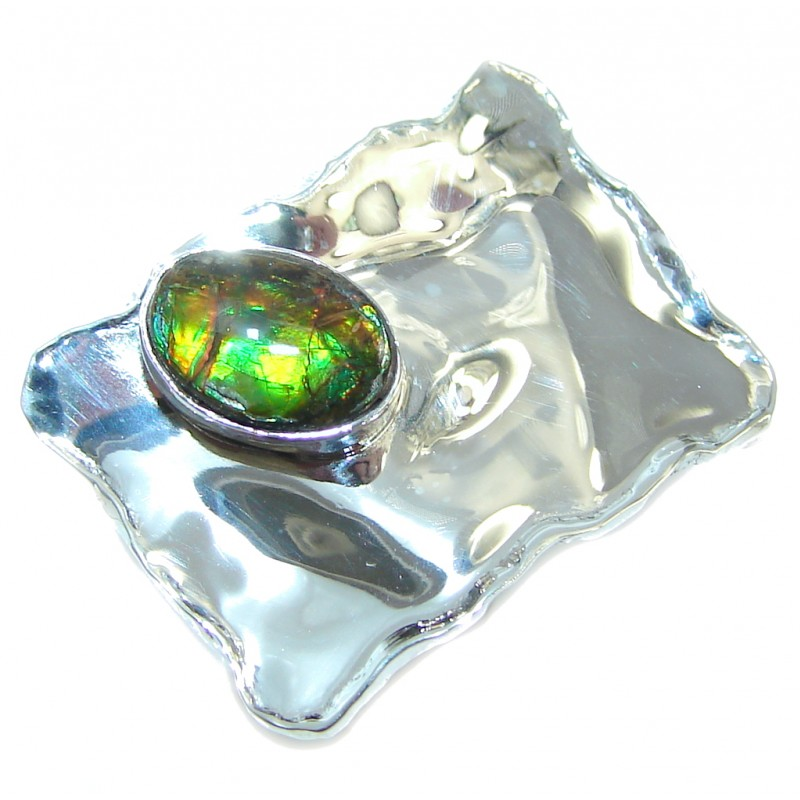 Rainbow Fire AAA Ammolite Sterling Silver ring s. 6 1/4