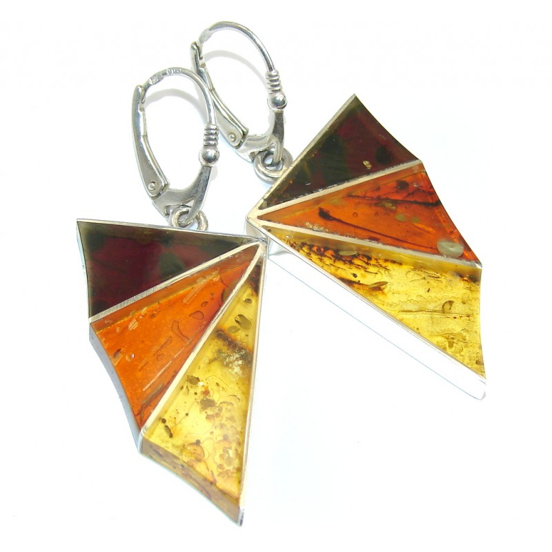 Amazing Design Natural Baltic Polish Amber Sterling Silver Earrings