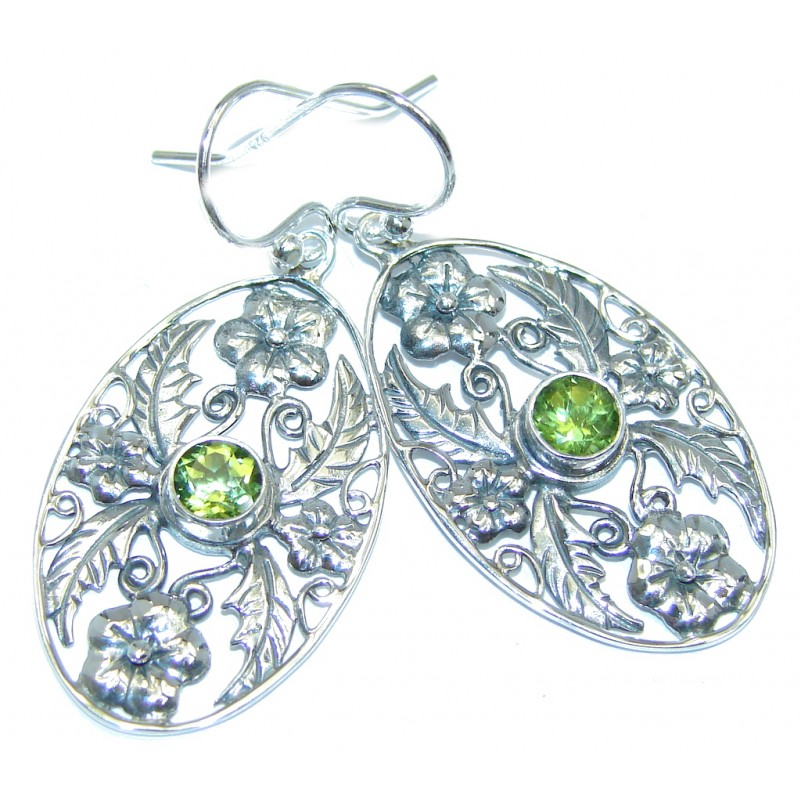 Amazing Floral Design Peridot Sterling Silver Earrings