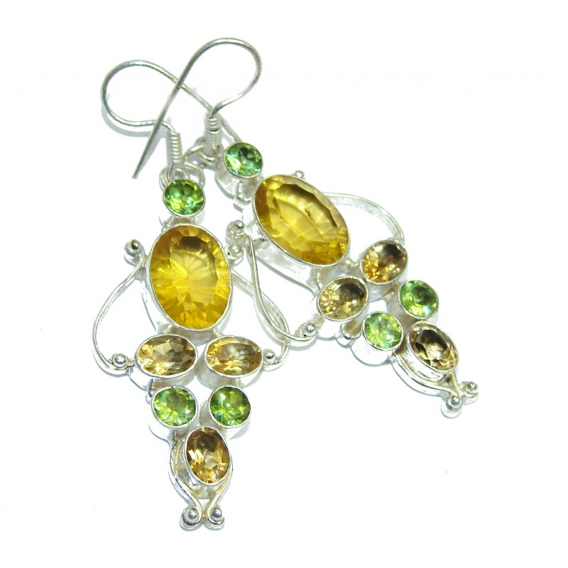Handcrafted Yellow Golden Magic Topaz Sterling Silver earrings