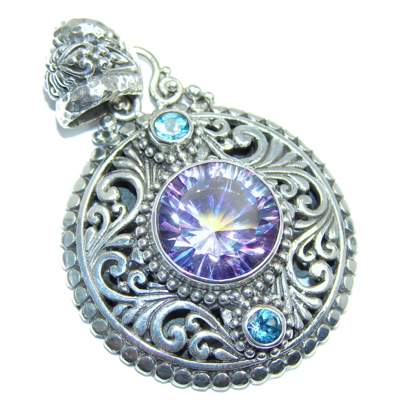 Amazing - Bali Handcrafted - Lilac Magic Topaz Sterling Silver Pendant