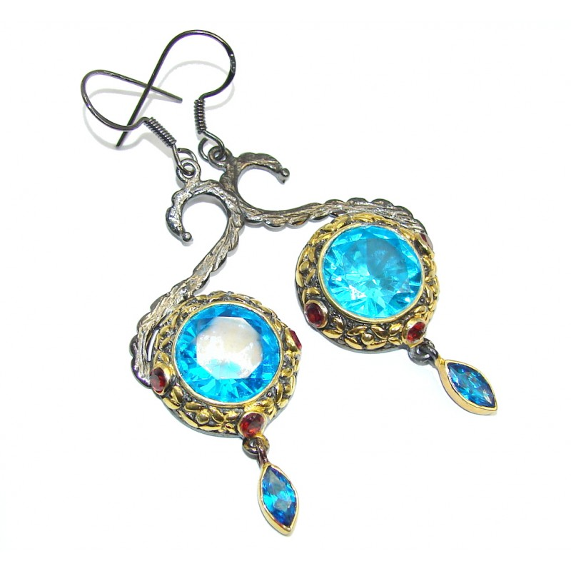 Perfect Blue Topaz Rhodium Gold plated over Sterling Silver earrings