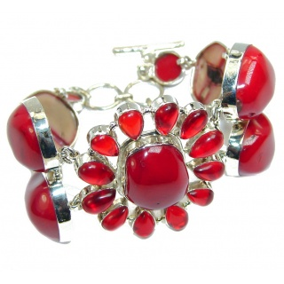 Huge Precious Red Fossilized Coral Sterling Silver Bracelet
