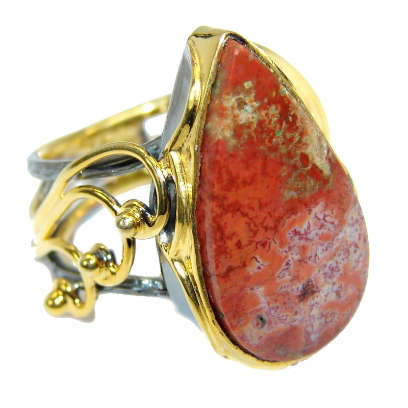 Amazing Crazy Lace Agate Gold plated over Sterling Silver Ring s. 7