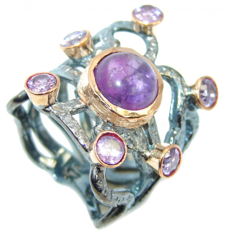 Perfect Amethyst Galaxy Gold Rhodium plated over Sterling Silver Ring s. 8 1/4