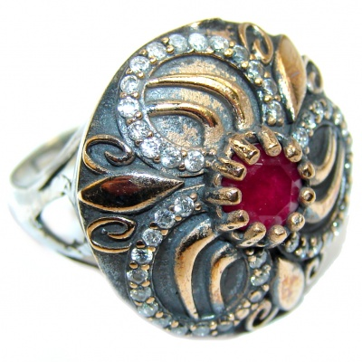 Victorian Style created Ruby & White Topaz Sterling Silver ring; s. 7 1/4