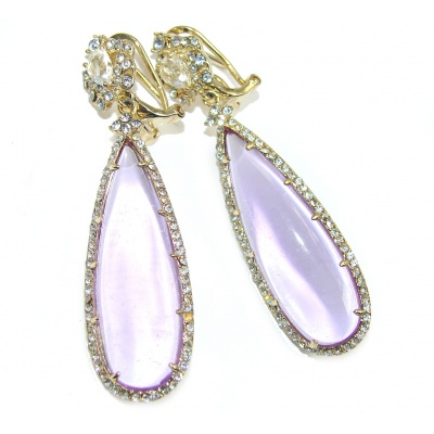 Hollywood Style Giant Purple Crystals Sterling Silver Earrings