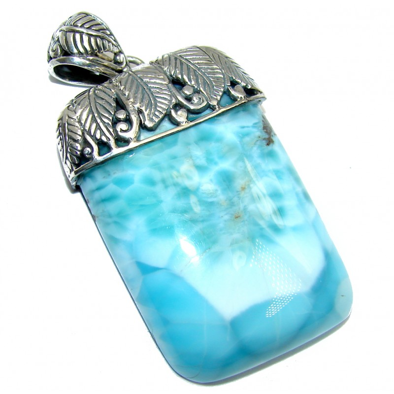 Natural AAA Blue Larimar Bali Made Sterling Silver Pendant