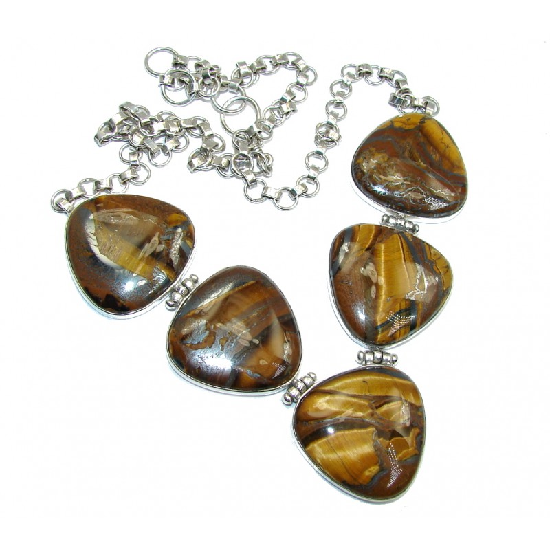 Perfect Gift AAA Golden Tigers Eye Sterling Silver Necklace